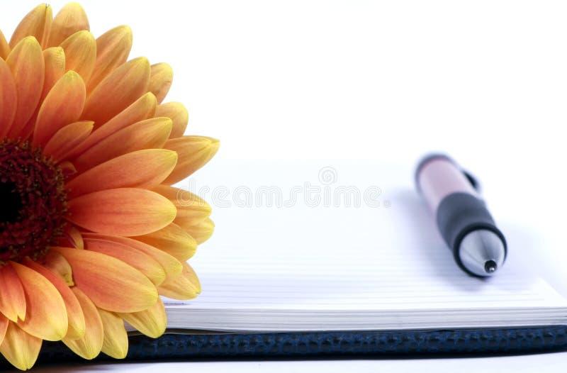 Tagebuch und Blume stockfoto