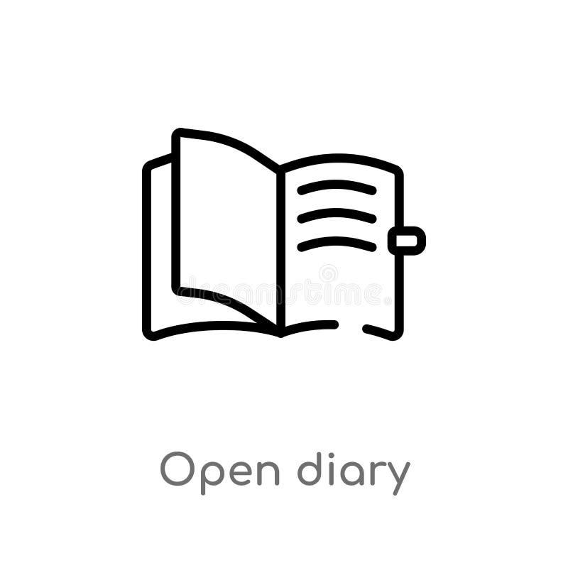 Tagebuch-Vektorikone des Entwurfs offene lokalisiertes schwarzes einfaches Linienelementillustration vom Benutzerschnittstellenko vektor abbildung