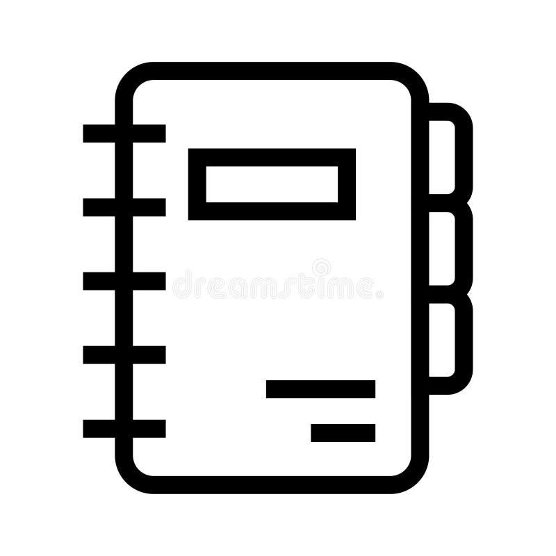 Tagebuchvektorlinie Ikone stock abbildung