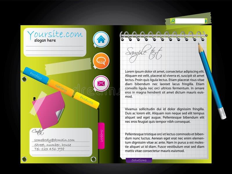 Tagebuchweb-Schablone lizenzfreie abbildung