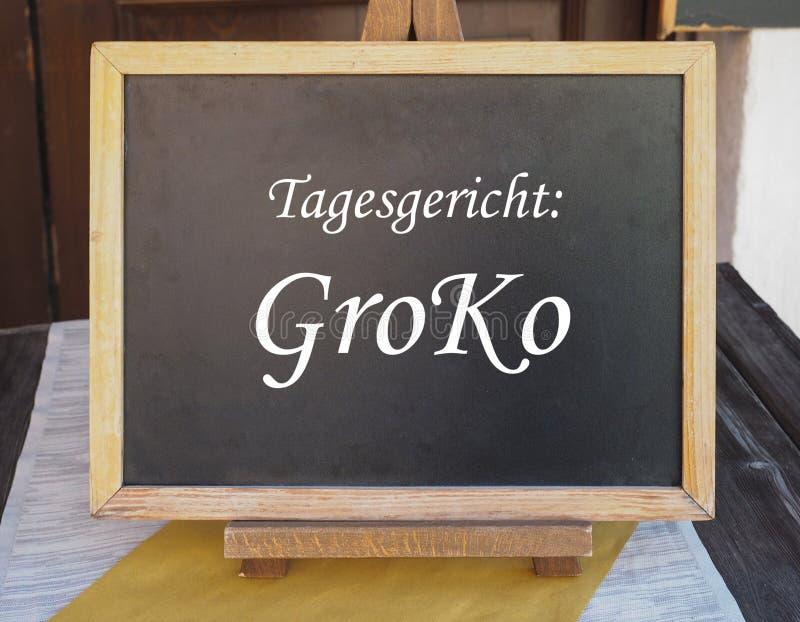 Tagesgericht Groko (Bedeutung Teller des Tages: Große Koalition) lizenzfreies stockfoto