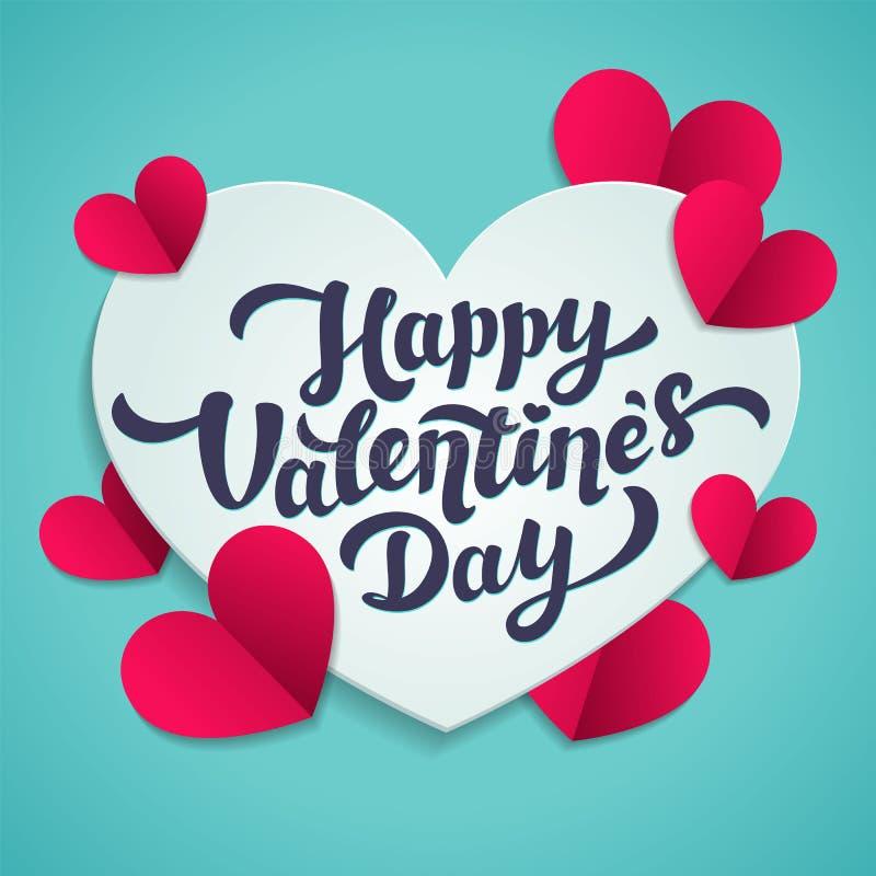 Tagesgruß-Karte des Valentinsgruß-s Februar 14 Glückliche Valentinsgruß-Tagesbeschriftung mit geschnittenen Papierherzen auf blau lizenzfreie abbildung