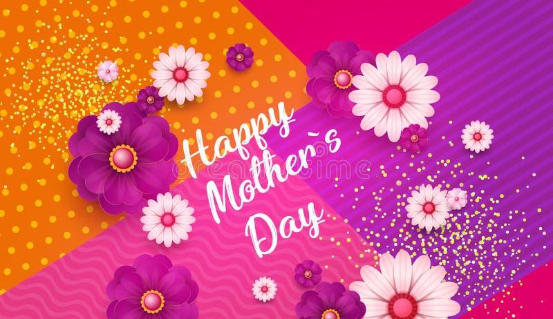 Tagesgrußkarte der Mutter-s mit quadratischem Rahmen und geschnittene Papierblumen auf buntem modernem geometrischem Hintergrund  vektor abbildung