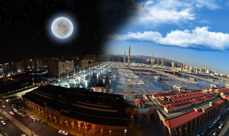 Tageskurve zur Nacht an der Nabawi Moschee lizenzfreie stockfotos