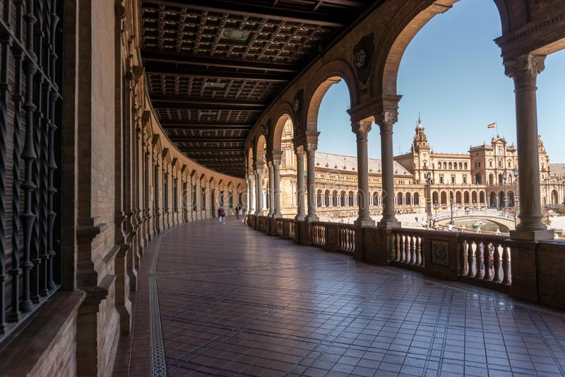 Tageslicht Plaza De Espana At, Sevilla Spanien stockfoto