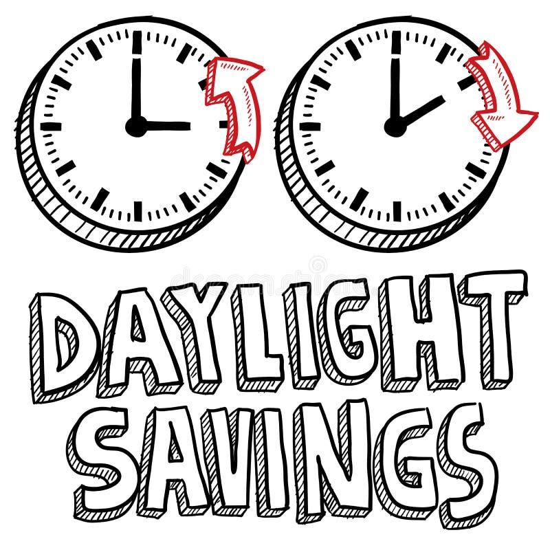 Download Tageslicht-Sparungszeitskizze Vektor Abbildung - Illustration von hände, rücksetzen: 26350157