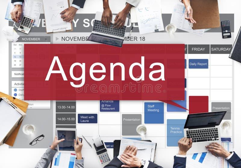 Tagesordnung Apppointment-Ziel-Informations-Listen-Plan-Konzept lizenzfreie stockfotos
