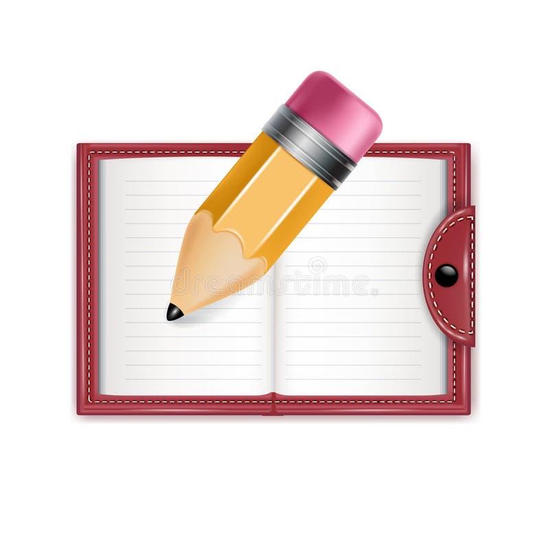 Tagesordnung und Bleistift lokalisiert auf Weiß lizenzfreie stockfotos