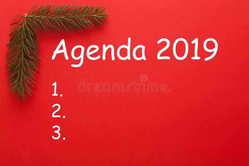 Tagesordnungs-Konzept 2019 lizenzfreies stockbild