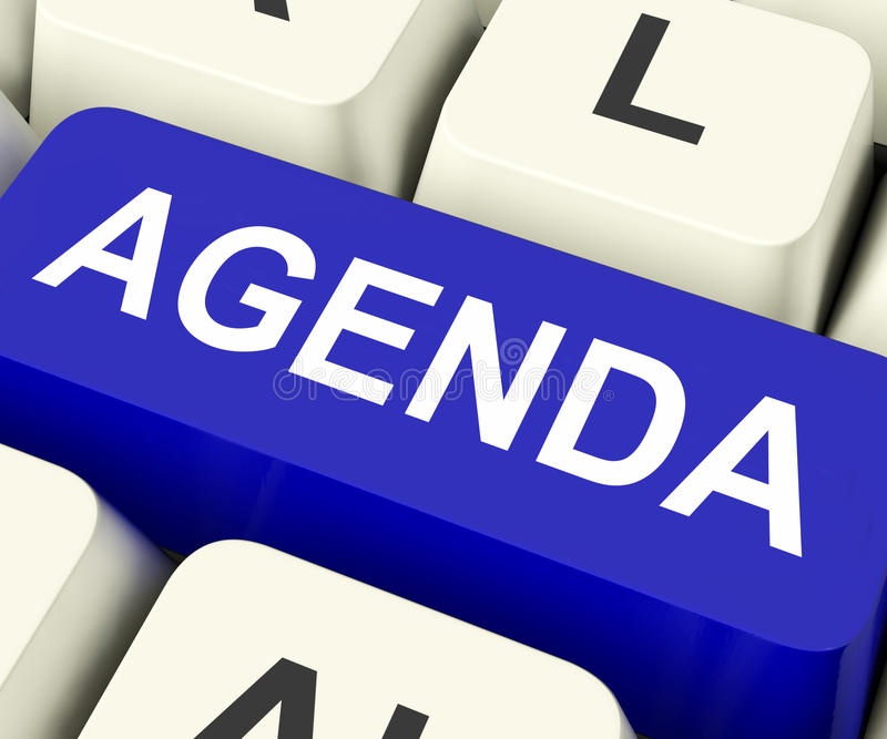 Tagesordnungs-Schlüssel bedeutet Zeitplan oder Entwurf lizenzfreie stockbilder