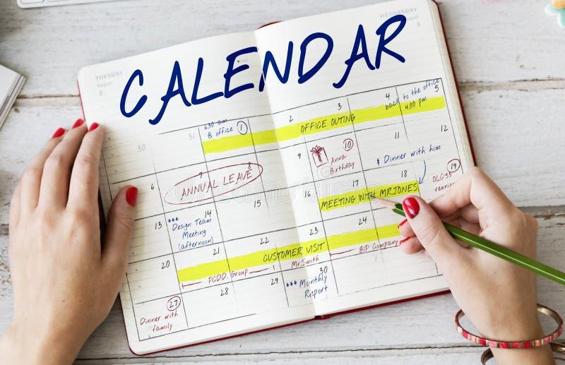 Tagesordnungs-Zeitplan-Kalender-Zeitplan-Grafik lizenzfreies stockbild