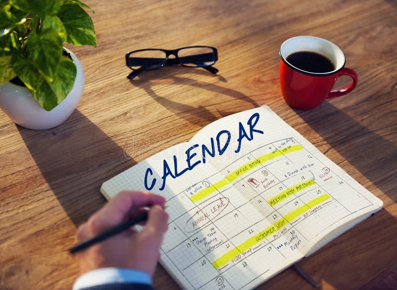 Tagesordnungs-Zeitplan-Kalender-Zeitplan-Grafik lizenzfreie stockbilder