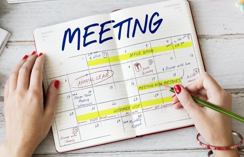 Tagesordnungs-Zeitplan-Kalender-Zeitplan-Grafik lizenzfreies stockfoto