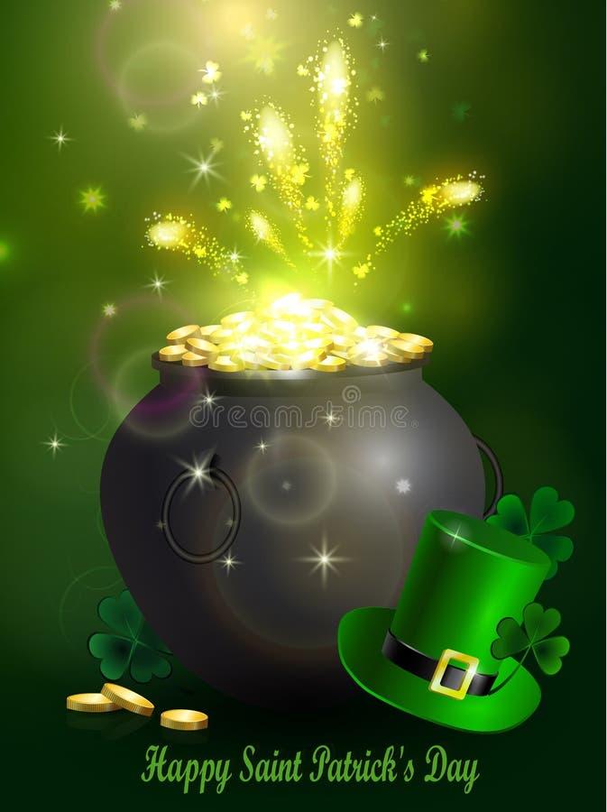 Tagessymbol-Grüntopf St Patrick s lizenzfreie abbildung
