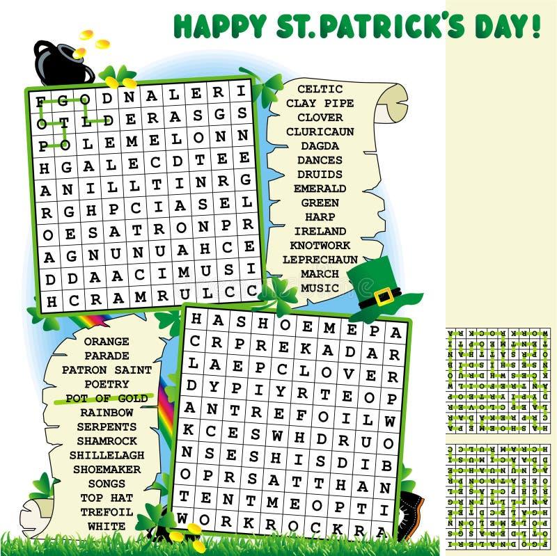 Tageswort-Recherchepuzzlespiel Str.-Patricks stock abbildung
