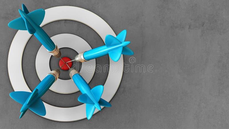 taget blanco 3d con cuatro dardos stock de ilustración