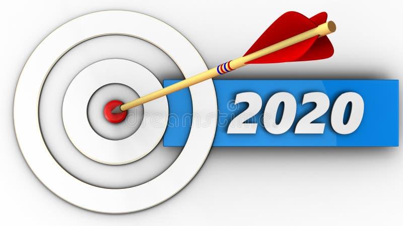 taget 3d blanc avec le signe de 2020 ans illustration stock