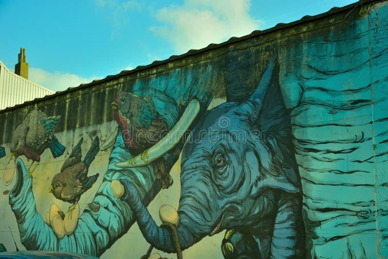 Taggers de gentiane, rue-art : le graffiti, oiseaux, Trump elifant photographie stock libre de droits