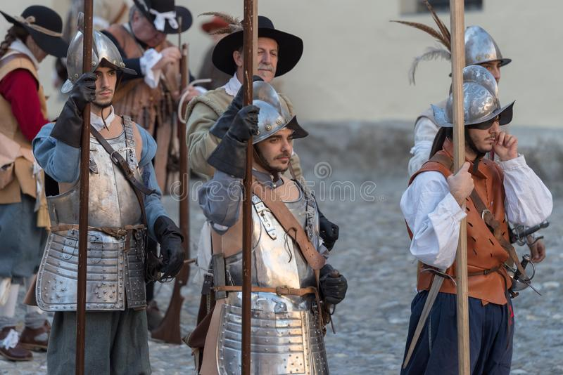Medieval costume party. Taggia, Italy - March 17, 2018: Participants of medieval costume party in the historic city of Taggia in Liguria region of Italy. The stock images