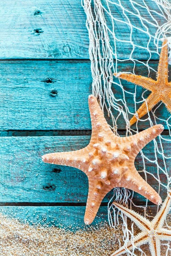 Taggig sjöstjärna på turkos målade bräden arkivfoton