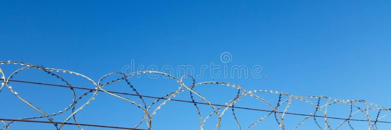 Taggtråd och taggar på bakgrunden av blå himmel arkivfoto