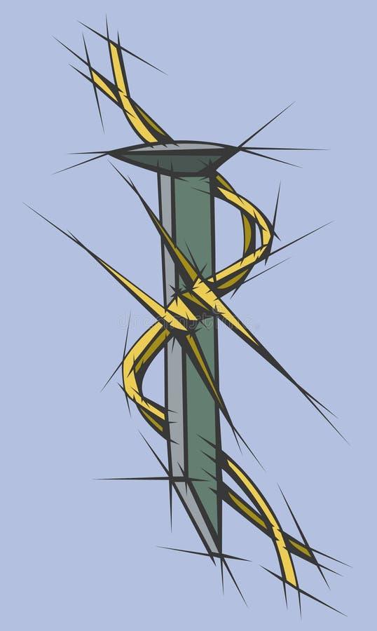 taggtråden spikar piggen vektor illustrationer