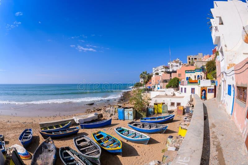 Taghazout bränningby, agadir, Marocko 5 fotografering för bildbyråer