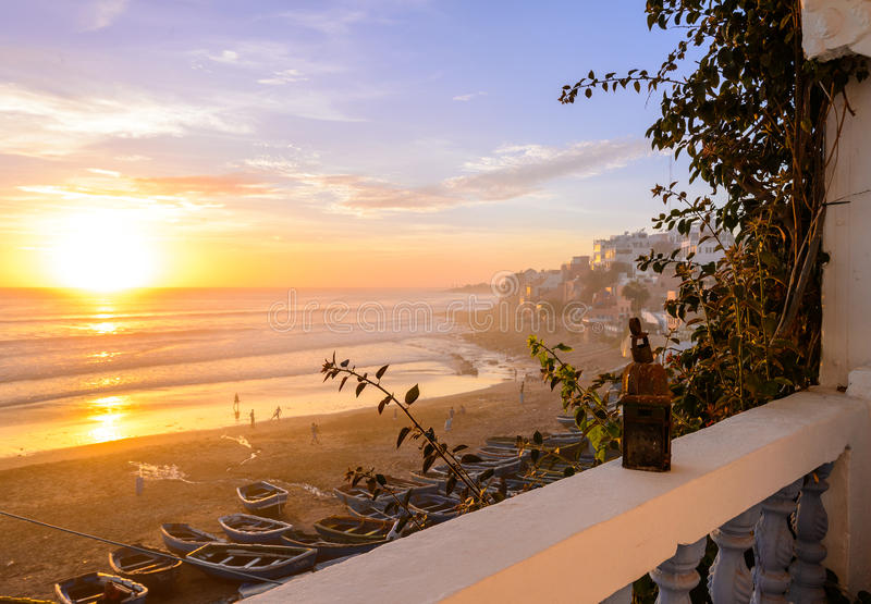 Taghazout surf village,agadir,morocco 5. A sunset view of taghazout surf and fishing village in agadir,morocco royalty free stock photography