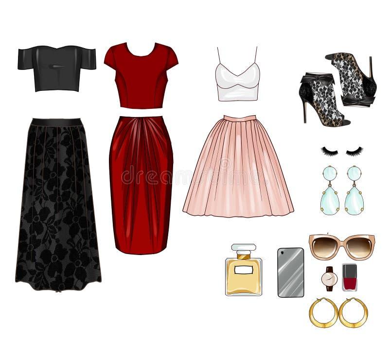 Tagli Art Set dei vestiti, degli accessori e dei cosmetici del ` s della donna illustrazione di stock