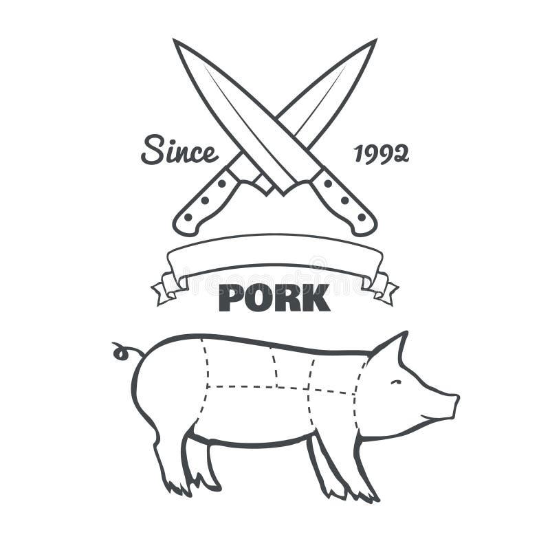 Tagli d'annata del macellaio del vettore del gesso del menu della carne di maiale royalty illustrazione gratis