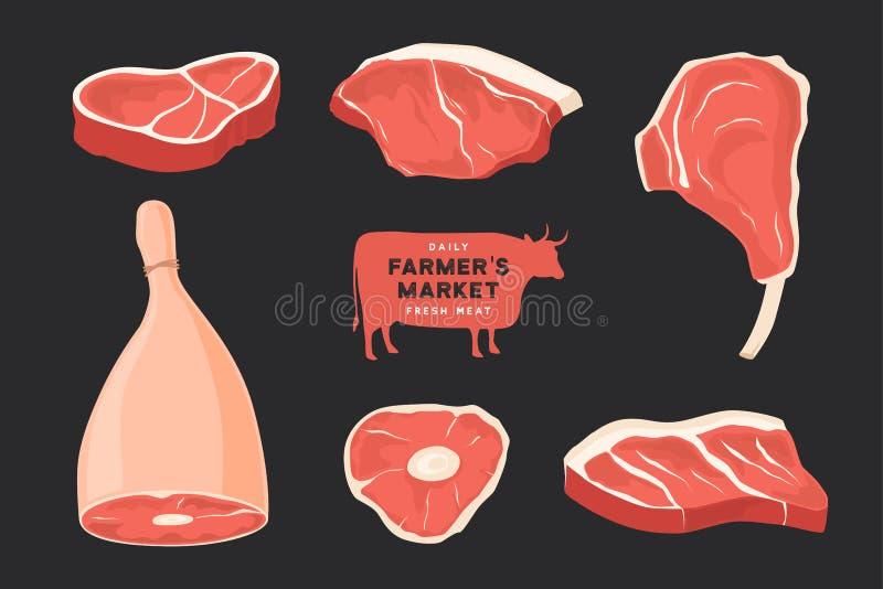 Tagli delle carni differenti stabiliti Le immagini per il concetto degli agricoltori commercializzano e comperano illustrazione di stock