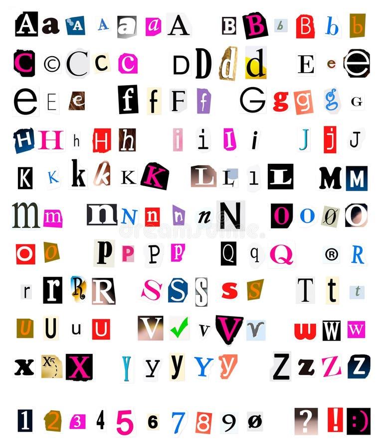 Tagli e fonte tipografica fuori violenta immagine stock