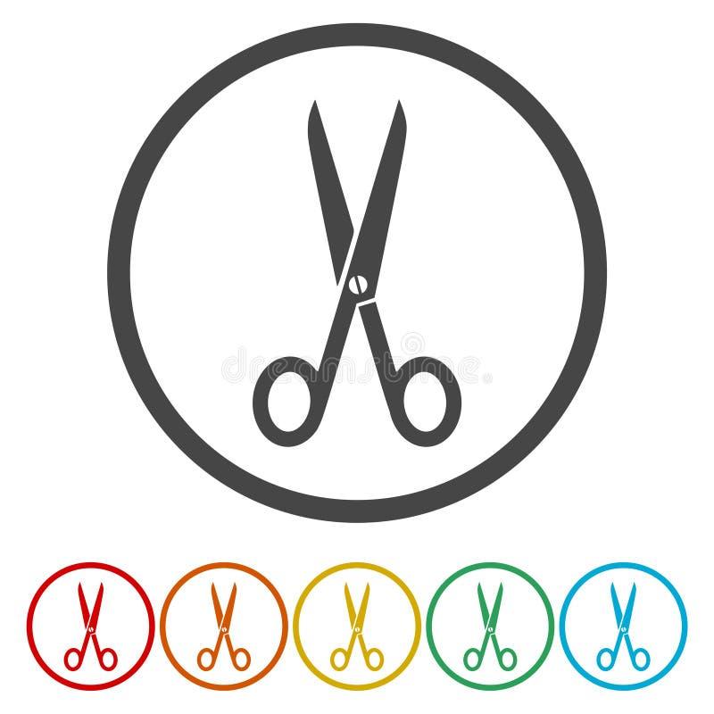 Tagli, forbici, lavagna per appunti o icona di modo illustrazione di stock