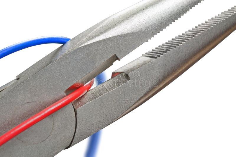 Tagli il collegare blu o il collegare rosso? fotografia stock libera da diritti