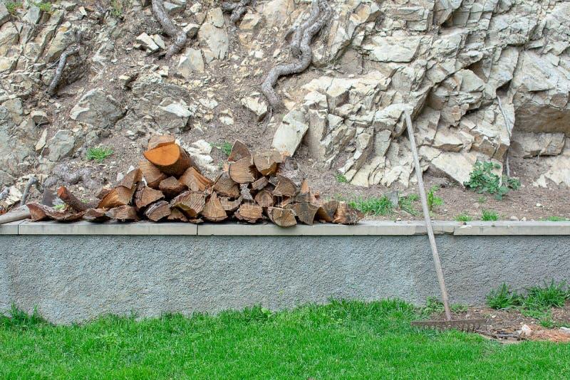 Tagli il legno che riposa sulla parete e su uno strumento del giardiniere fotografie stock libere da diritti