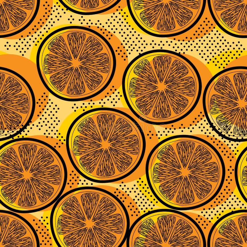 Tagli il modello senza cuciture arancio illustrazione vettoriale