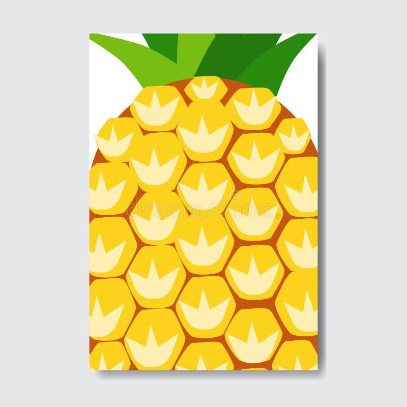 Tagli la carta del modello dell'ananas, manifesto della frutta fresca della fetta su fondo bianco, opuscolo verticale della dispo illustrazione vettoriale