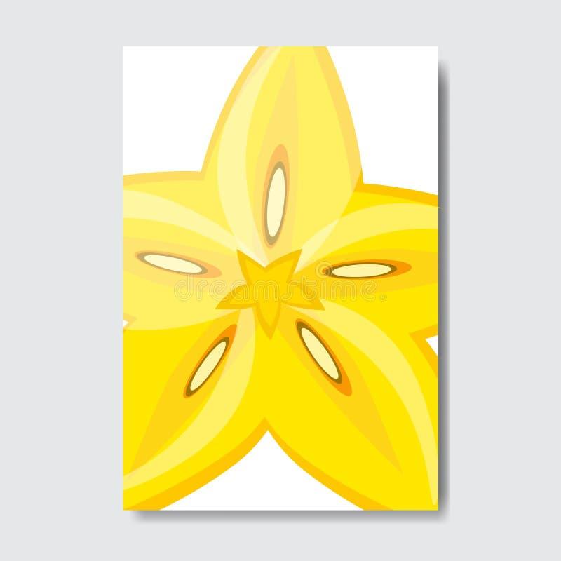 Tagli la carta del modello della carambola, manifesto della frutta fresca della fetta su fondo bianco, opuscolo verticale della d illustrazione vettoriale