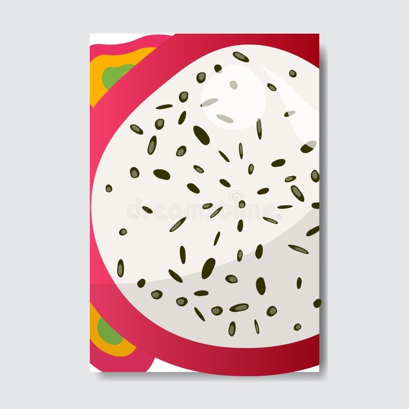 Tagli la carta del modello di pitahiya, il manifesto su fondo bianco, manifesto verticale della frutta fresca della fetta dell'op royalty illustrazione gratis