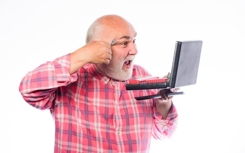 Tagli la forma del sopracciglio lametta o rasoio Rasatura degli accessori baffi non rasati dell'uomo anziano e capelli della barb immagine stock libera da diritti