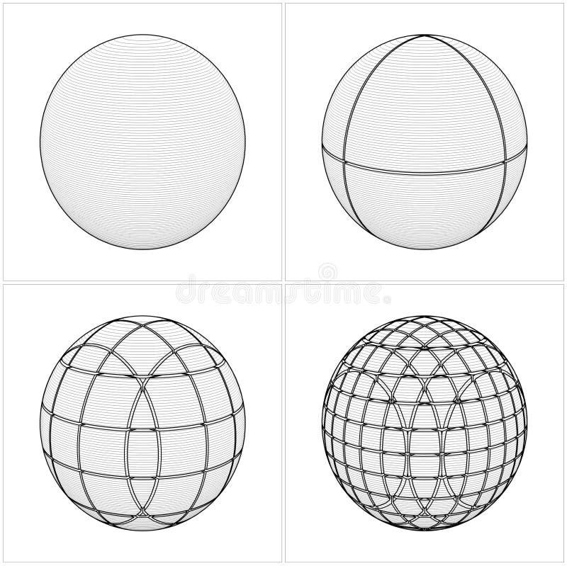 Tagli la sfera dal semplice al vettore complicato illustrazione vettoriale