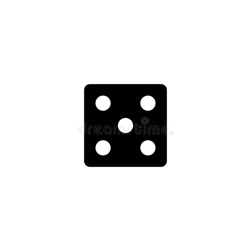 Taglia l'icona a cubetti del segno Simbolo del gioco del casin? Dadi piani illustrazione di stock