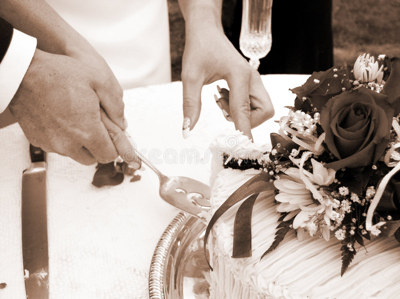Tagliando la torta - seppia orizzontale immagini stock libere da diritti
