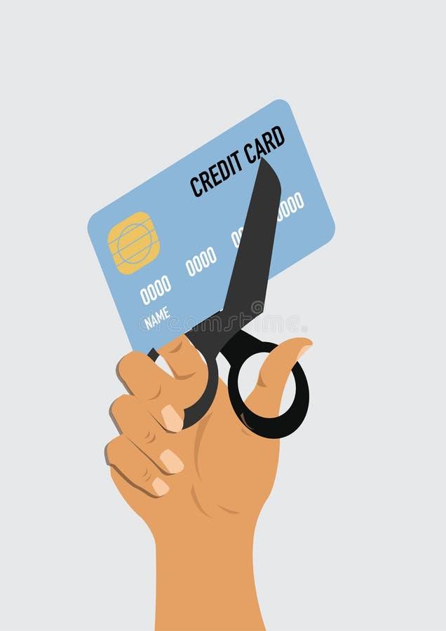 Tagliare la carta di credito con le forbici illustrazione vettoriale
