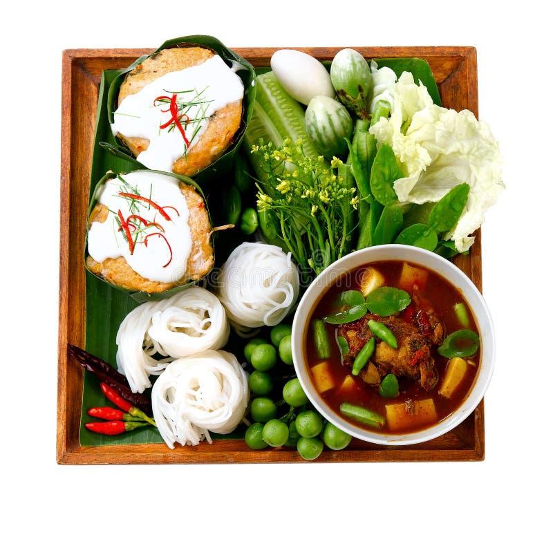 Tagliatella tailandese e curry piccante fotografie stock