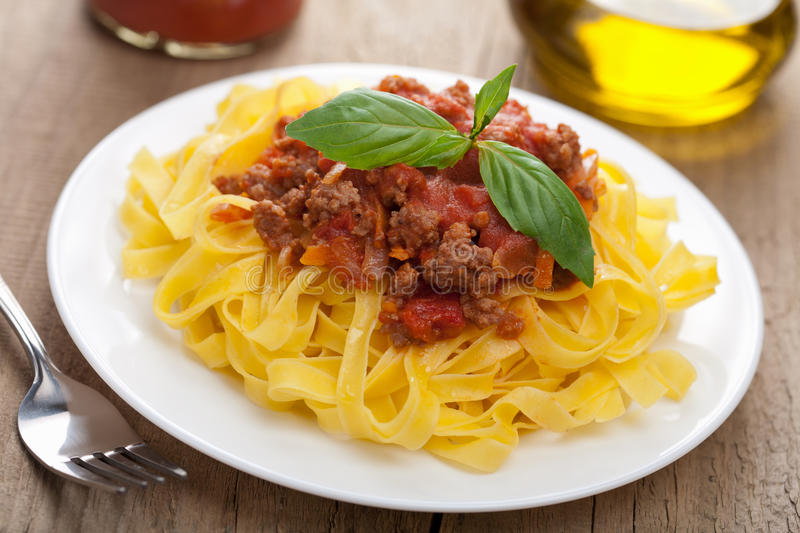 Download Tagliatelle bolognese stock photo. Image of fork, nutrition - 21564902
