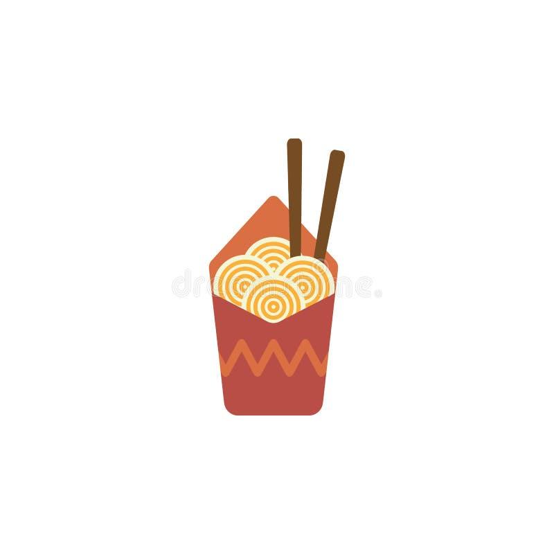 Tagliatelle, ciotola, icona del bastoncino Elemento dell'icona internazionale dell'alimento di colore Icona premio di progettazio illustrazione di stock
