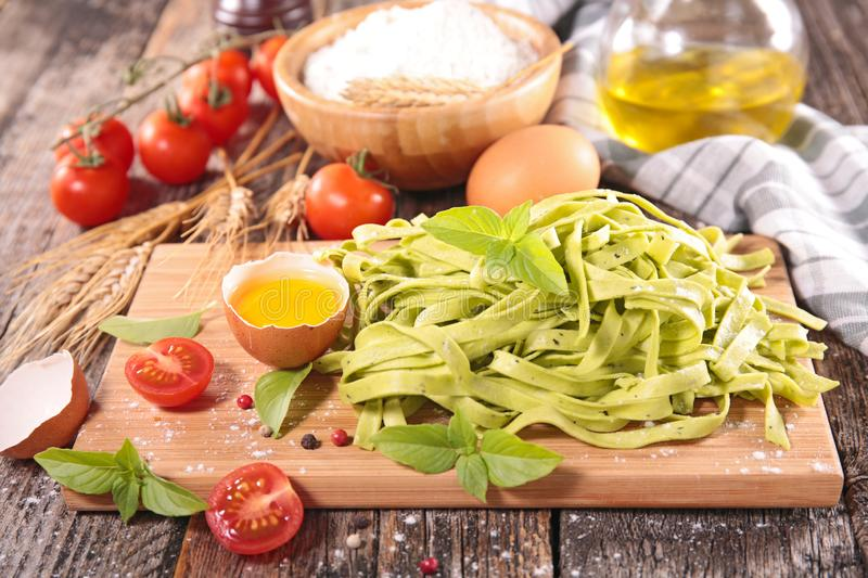 Tagliatelle with egg and ingredient royalty free stock photo