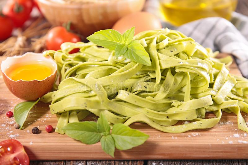 Tagliatelle with egg and ingredient royalty free stock photos