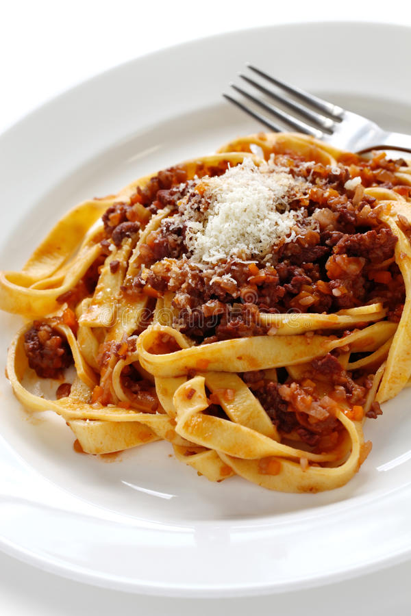 Tagliatelle with ragu bolognese sauce stock images